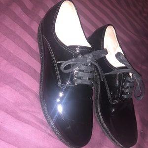 MIU MIU Black Lace-Up Oxfords with Glitter Welt
